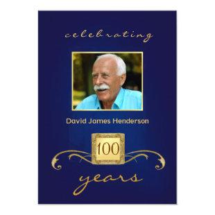 100th Birthday Party Photo Invitations - Blue