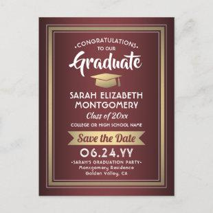 1 Photo Burgundy and Gold Graduation Save the Date Announcement Postcard