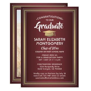 1 Photo Burgundy Gold Maroon Red Modern Graduation Invitation