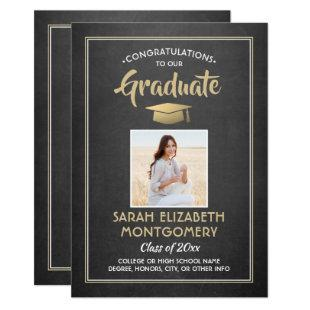 1 Photo Chalkboard Black White and Gold Graduation Invitation