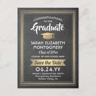 1 Photo Chalkboard & Gold Graduation Save the Date Announcement Postcard