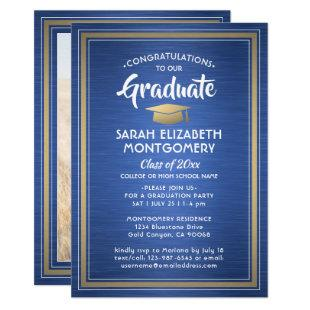 1 Photo Elegant Blue Gold and White Graduation Invitation