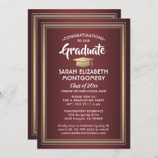 1 Photo Elegant Burgundy Red and Gold Graduation Invitation