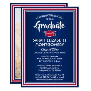 1 Photo Elegant Congrats Red White Blue Graduation Invitation