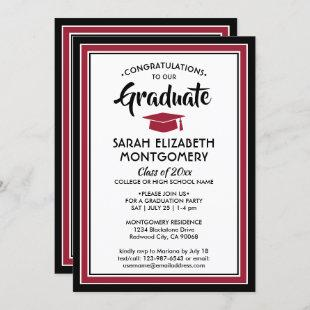 1 Photo Elegant Modern Red Black White Graduation Invitation