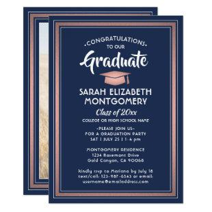 1 Photo Elegant Navy and Pink Rose Gold Graduation Invitation