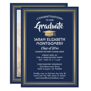 1 Photo Elegant Navy Blue Gold & White Graduation Invitation