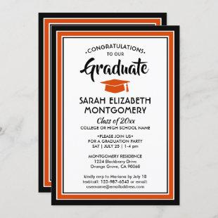 1 Photo Elegant Orange Black and White Graduation Invitation