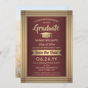 1 Photo Graduation Burgundy Gold Maroon Red Modern Save The Date