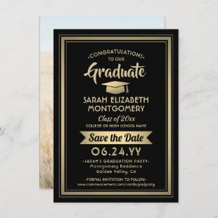 1 Photo Graduation Elegant Modern Black and Gold Save The Date