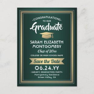 1 Photo Green Gold White Graduation Save the Date Announcement Postcard