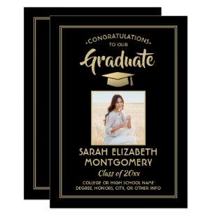 1 Photo Modern Congrats Black and Gold Graduation Invitation