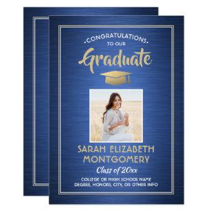 1 Photo Modern Congrats Blue Gold White Graduation Invitation