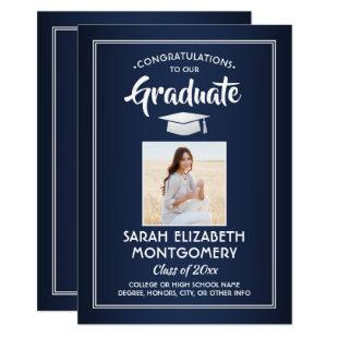 1 Photo Modern Congrats Navy Blue White Graduation Invitation