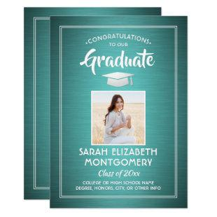 1 Photo Modern Congrats Teal Blue White Graduation Invitation