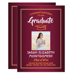 1 Photo Modern Maroon Red Gold Yellow Graduation Invitation