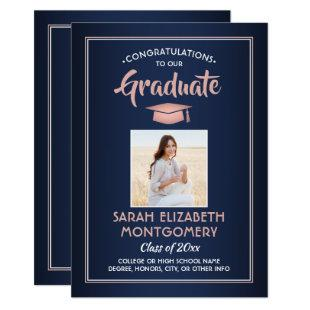 1 Photo Modern Navy Blue Pink Rose Gold Graduation Invitation