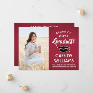 1 Photo Modern Red White and Black Graduation Announcement