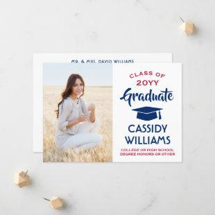 1 Photo Modern Red White and Blue Graduation Announcement