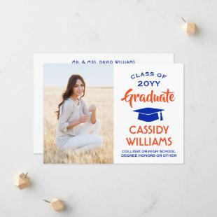 1 Photo Modern Royal Blue White Black Graduation Announcement