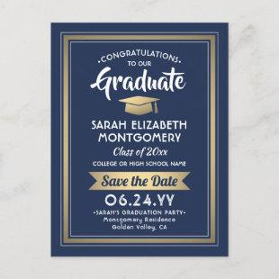 1 Photo Navy Blue & Gold Graduation Save the Date Announcement Postcard