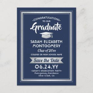 1 Photo Navy White Silver Graduation Save the Date Announcement Postcard
