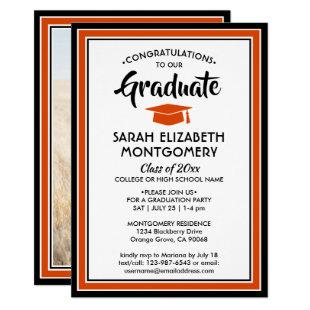 1 Photo Orange Black White Elegant Graduation Invitation