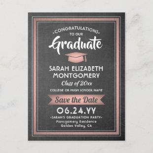 1 Photo Pink Rose Gold Graduation Save the Date Announcement Postcard