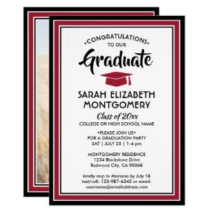1 Photo Red Black White Modern Elegant Graduation Invitation