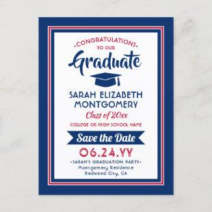 1 Photo Red White & Blue Graduation Save the Date Announcement Postcard