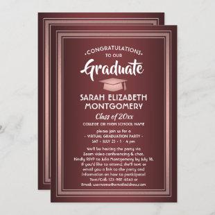 1 Photo Virtual Graduation Burgundy Pink Rose Gold Invitation