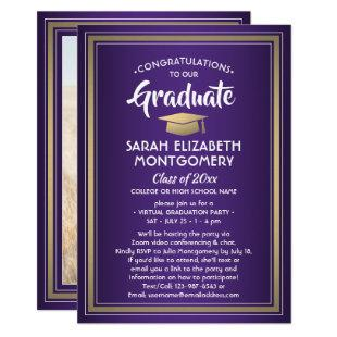 1 Photo Virtual Graduation Party Purple Gold White Invitation