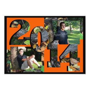 2014 Woodland Camo Twin Photo Orange Invitation