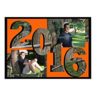 2016 Tree Camo Twin Photo Hunter Orange Invitation