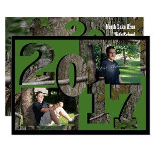 2017 Tree Camo Graduation Twin Photo Hunter Green Invitation