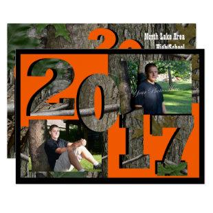2017 Tree Camo Graduation Twin Photo Invitation