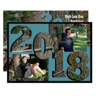 2018 Tree Camo Twin Photo Teal Invitation