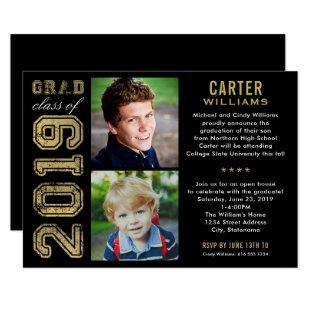 2019 Black and Gold Photo Graduation Party Invitation