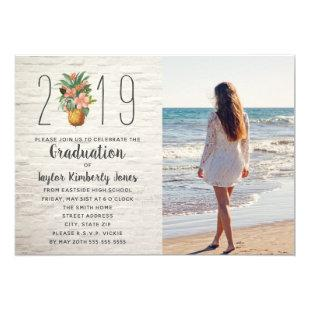 2019 Graduation Beach Floral Pineapple Photo Invitation