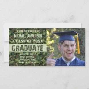 2019 Graduation Camouflage Custom Photo Green Announcement