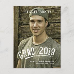 2019 Graduation Masculine Grunge Lettered Photo Invitation Postcard