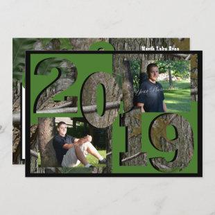 2019 Tree Camo Graduation Twin Photo Hunter Green Invitation