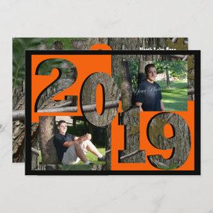2019 Tree Camo Graduation Twin Photo Invitation