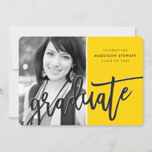 2020 GRAD PARTY modern overlay black yellow Thank You Card