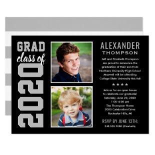2020 Graduate | Black Graduation Party Photo Invitation