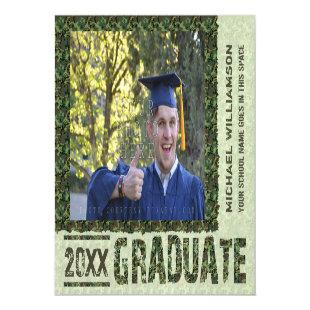 2020 Graduation Camouflage Personalized Photo Magnetic Invitation