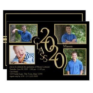 2020 Graduation Class of Quad Photo Black Invitation