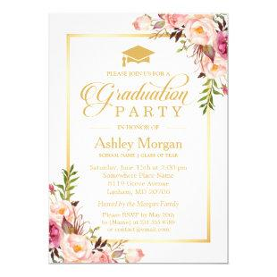 2020 Graduation Party Chic Floral Golden Frame Invitation