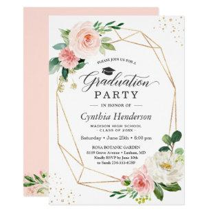 2020 Graduation Party Girly Blush Pink Floral Invitation