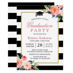 2020 Graduation Party Modern Floral Black Stripes Invitation